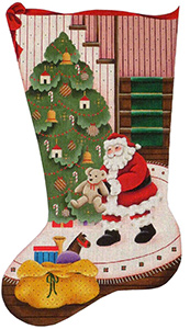Teddy Bear Christmas Hand Painted Stocking Canvas from Rebecca Wood