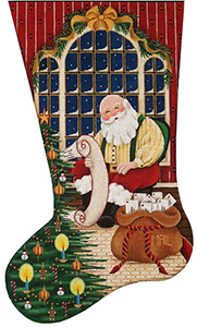 Checking It Twice Hand Painted Stocking Canvas from Rebecca Wood