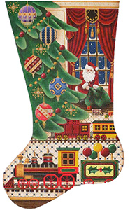 Lollypop Train Hand Painted Stocking Canvas from Rebecca Wood
