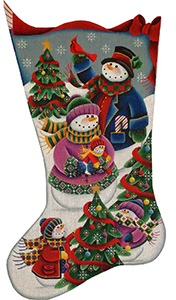 Snow Family Hand Painted Stocking Canvas from Rebecca Wood