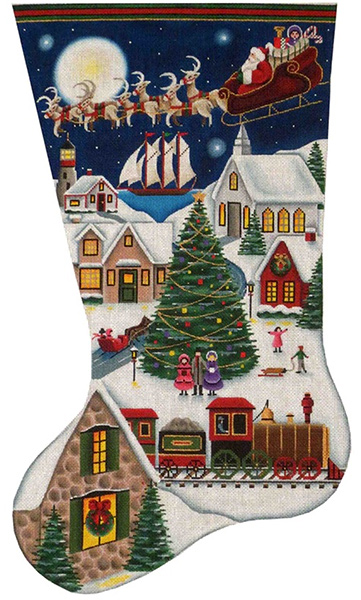 Here Comes Santa Hand Painted Stocking Canvas from Rebecca Wood