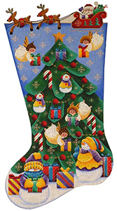 Angels Gifts Hand Painted Stocking Canvas from Rebecca Wood