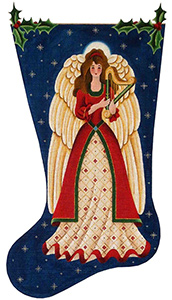Christmas Angel Hand Painted Stocking Canvas from Rebecca Wood