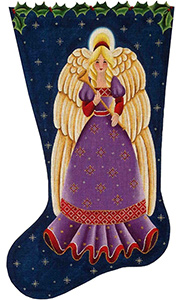Nordic Angel Hand Painted Stocking Canvas from Rebecca Wood