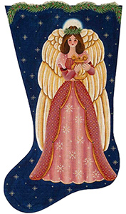 Mauve Angel Hand Painted Stocking Canvas from Rebecca Wood