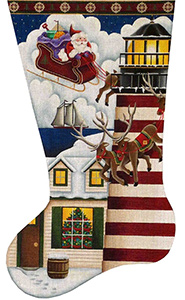 Lighthouse Christmas Hand Painted Stocking Canvas from Rebecca Wood