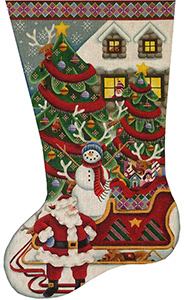 Where's Rudolph Hand Painted Stocking Canvas from Rebecca Wood