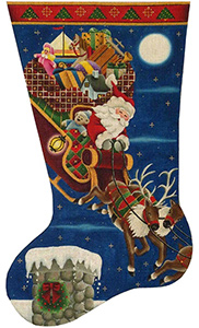 First Stop Hand Painted Stocking Canvas from Rebecca Wood