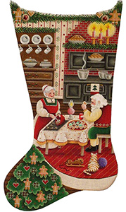Christmas Kitchen Hand Painted Stocking Canvas from Rebecca Wood