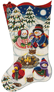 Roasting Marshmallows Hand Painted Stocking Canvas from Rebecca Wood
