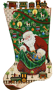 Trains for Christmas Hand Painted Stocking Canvas from Rebecca Wood