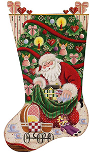 Doll Christmas Hand Painted Stocking Canvas from Rebecca Wood