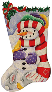 Woodland Snowman Hand Painted Stocking Canvas from Rebecca Wood
