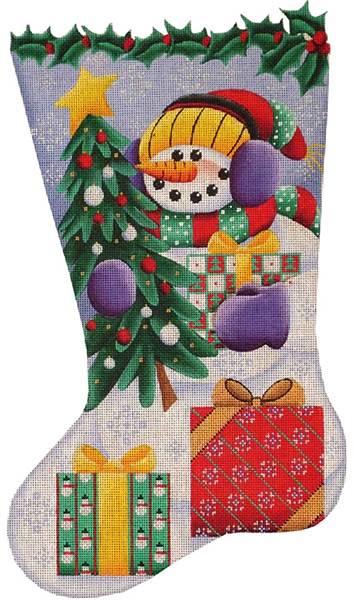 Snowman Gifts Hand Painted Stocking Canvas from Rebecca Wood