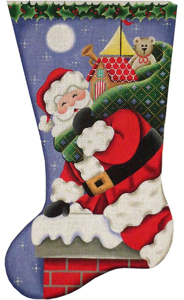 Down the Chimney Hand Painted Stocking Canvas from Rebecca Wood