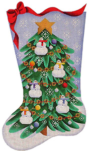 Snowman Tree Hand Painted Stocking Canvas from Rebecca Wood