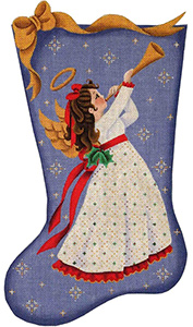 Horn Angel Hand Painted Stocking Canvas from Rebecca Wood