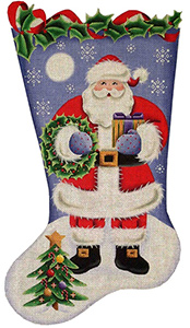 Wreath Santa Hand Painted Stocking Canvas from Rebecca Wood