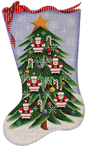 Santa Tree Hand Painted Stocking Canvas from Rebecca Wood