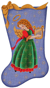 Harp Angel Hand Painted Stocking Canvas from Rebecca Wood
