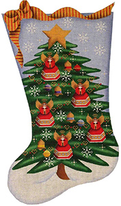 Angel Tree Hand Painted Stocking Canvas from Rebecca Wood