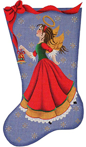 Bell Angel Hand Painted Stocking Canvas from Rebecca Wood