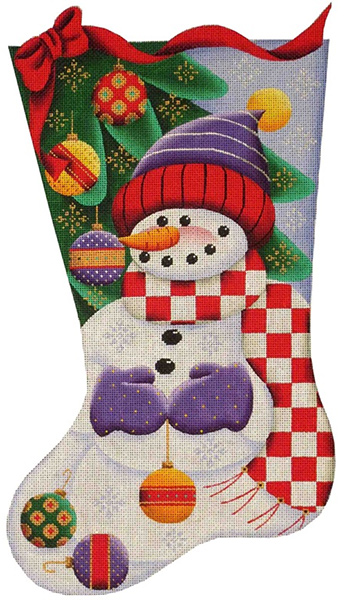 Ball Snowman Hand Painted Stocking Canvas from Rebecca Wood