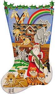 Noah's Ark Hand Painted Stocking Canvas from Rebecca Wood