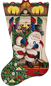 Out of the Fireplace (Boy) Hand Painted Stocking Canvas from Rebecca Wood