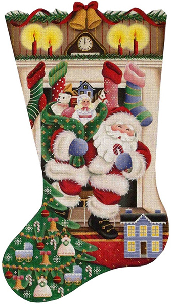 Out of the Fireplace (Girl) Hand Painted Stocking Canvas from Rebecca Wood