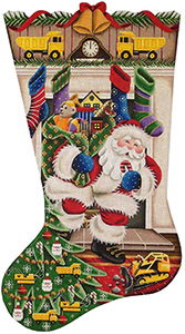 Out of the Fireplace (Caterpillar) Hand Painted Stocking Canvas from Rebecca Wood