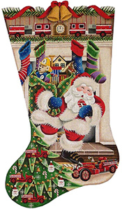 Out of the Fireplace (Firetruck) Hand Painted Stocking Canvas from Rebecca Wood
