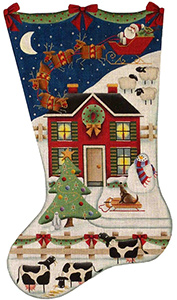 What's Up Hand Painted Stocking Canvas from Rebecca Wood