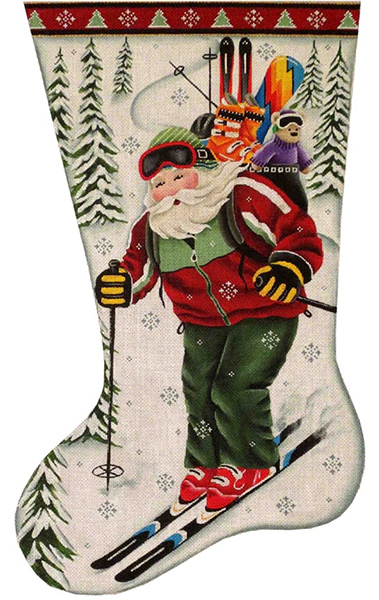 Skiing Santa Hand Painted Stocking Canvas from Rebecca Wood