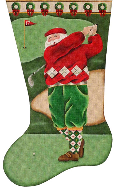 Golf Santa Hand Painted Stocking Canvas from Rebecca Wood