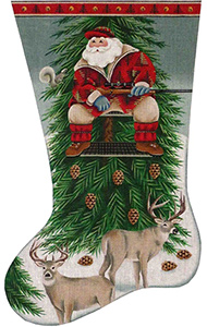 Deer Hunter Santa Hand Painted Stocking Canvas from Rebecca Wood