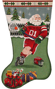 La Crosse Santa Hand Painted Stocking Canvas from Rebecca Wood