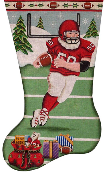 Football Santa Hand Painted Stocking Canvas from Rebecca Wood