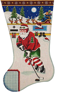 Hockey Santa Hand Painted Stocking Canvas from Rebecca Wood