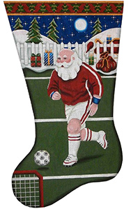 Soccer Santa Hand Painted Stocking Canvas from Rebecca Wood
