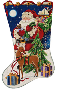 Christmas Eve Hand Painted Stocking Canvas from Rebecca Wood
