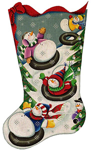 Tubing Snowmen Hand Painted Stocking Canvas from Rebecca Wood