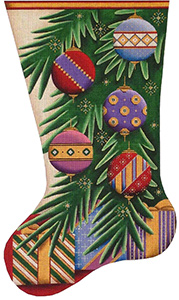 Christmas Balls Hand Painted Stocking Canvas from Rebecca Wood