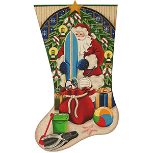 Beach Christmas Hand Painted Stocking Canvas from Rebecca Wood