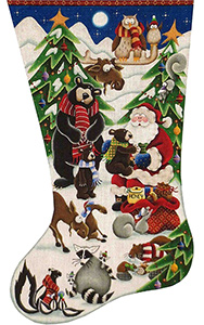 Woodland Wishes Hand Painted Stocking Canvas from Rebecca Wood