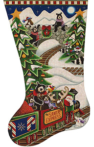 Santa Express Hand Painted Stocking Canvas from Rebecca Wood