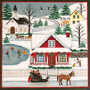 Winter Scene Hand Painted Needlepoint Canvas from Rebecca Wood