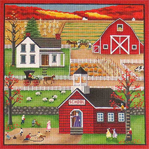 Autumn Scene Hand Painted Needlepoint Canvas from Rebecca Wood