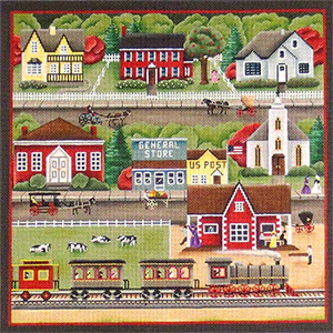 Train Station Village Scene Hand Painted Needlepoint Canvas from Rebecca Wood