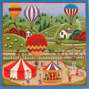 County Fair Hand Painted Needlepoint Canvas from Rebecca Wood